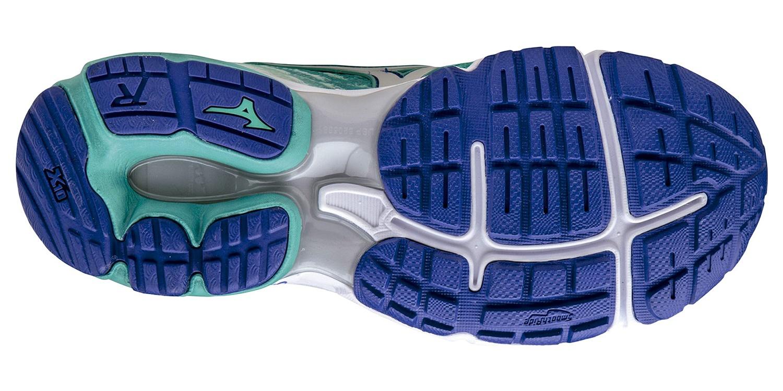 Женские беговые кроссовки Mizuno Wave Rider 19 (J1GD1603 04) бирюзовые - фото, цена, размеры беговой обуви Мизуно