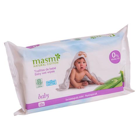 Органические влажные гигиенические  салфетки для детей (MASMI NATURAL COTTON)
