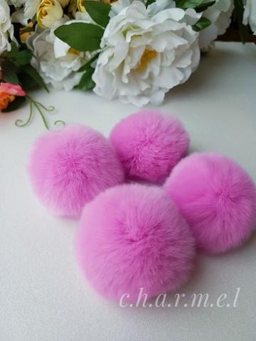 Помпоны, кролик 5-6 см, цвет Барби, 2 шт