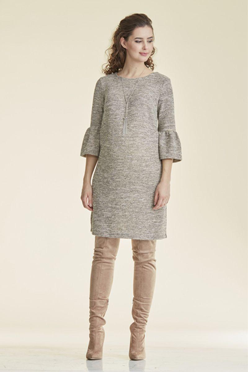 Платье 08785 серо-бежевый