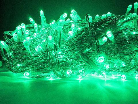 светодиоодные зеленые гирлянды нити для улицы на силиконовом прозрачном проводе 30 метров led