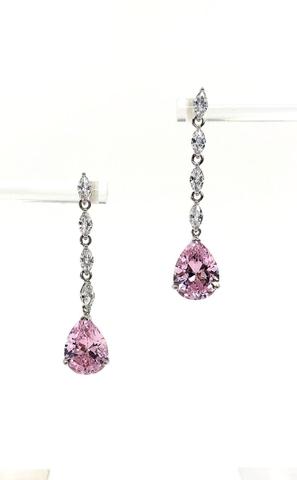 Серьги из серебра с розовым каплями