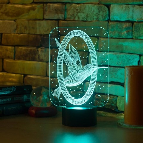3D ночник Колибри и кольцо