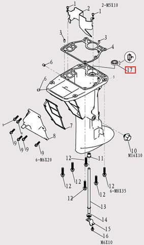 Сальник дейдвуда для лодочного мотора F9.8 Sea-PRO (11-17)