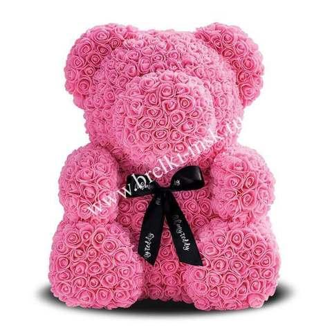 Розовый мишка из 3D роз с черной фирменной лентой 40 см.