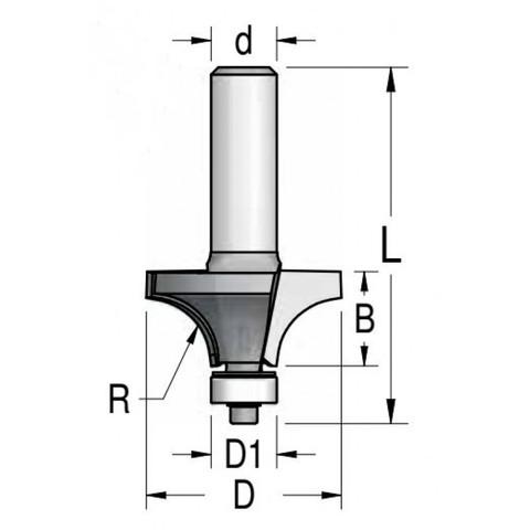 Фреза радиусная с нижним подшипником полуштап 76.3x38x98x12 R31.8 RW32002