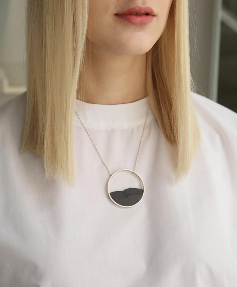 Колье Horizon Circle Black Silver