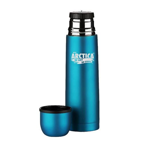 Термос Арктика (0,5 литра) с узким горлом классический, бирюзовый, резиновое покрытие
