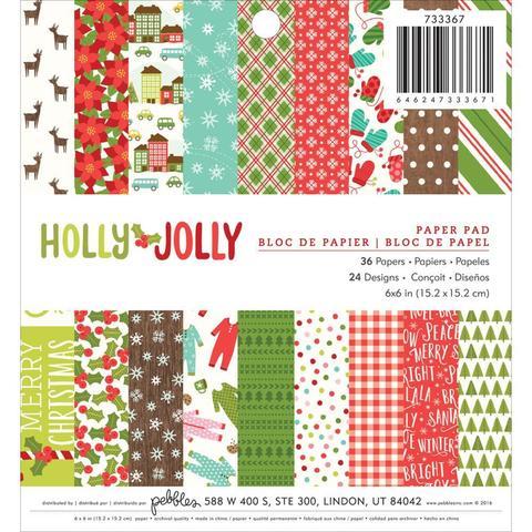 Набор бумаги 15х15см Holly Jolly от Pebbles