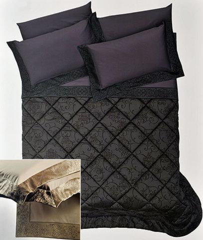 Постельное белье 2 спальное евро Cassera Casa Bach Bordi черное