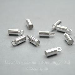 Концевик для шнура 3 мм, 9х3,5 мм (цвет - серебро), 10 штук