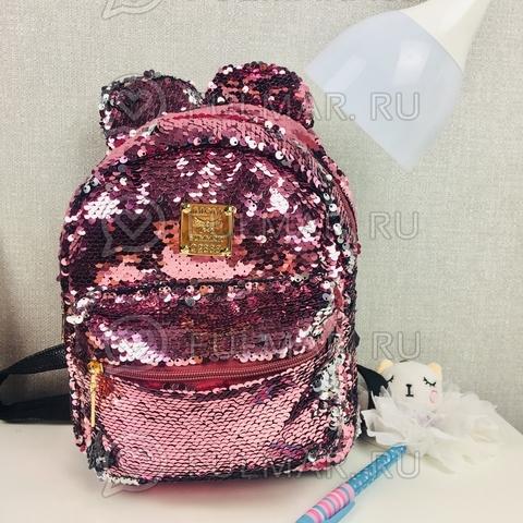 Рюкзак с пайетками и Ушами меняет цвет Розовый-Серебристый Пупс