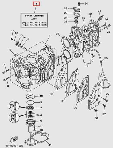 Двигатель в сборе (электростартер) T30EP Sea-PRO (2-1)