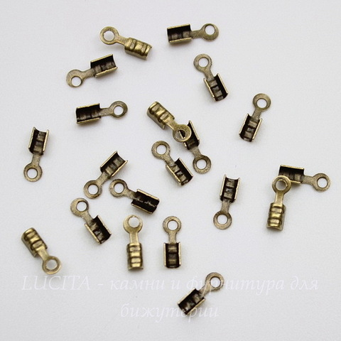Концевик обжимной для шнура 1,5 мм, 7х2 мм (цвет - античная бронза), 20 штук