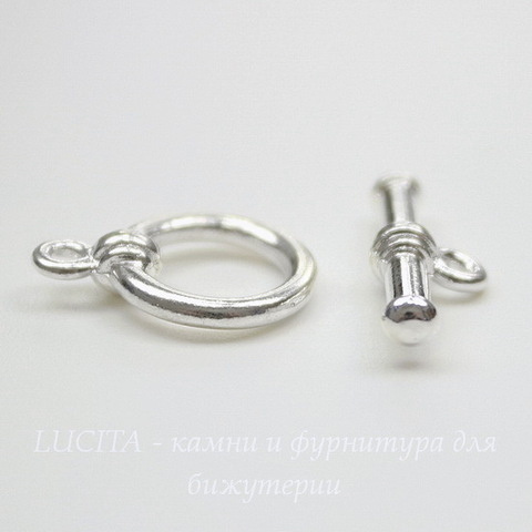 Замок - тоггл из 2х частей TierraCast 16х12 мм, 19х7 мм (цвет-серебро)