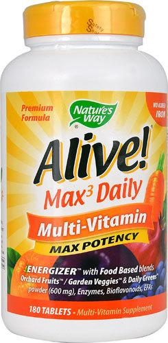 Сырые витамины Nature's Way Alive!® Max 3 Daily Multi-Vitamin -- 180 Tablets Natures-Way-Alive-Max-3-Daily-Multi-Vitamin-033674149324.jpg