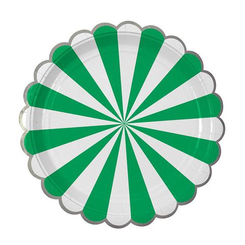 Тарелки большие в полоску зеленые