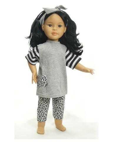 Трикотажный костюм - на кукле. Одежда для кукол, пупсов и мягких игрушек.