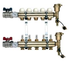 Коллектор Tiemme 1х3/4 ЕК-4 с расходомерами (на четыре контура) для теплого пола