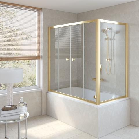 Шторка на ванну Vegas Glass Z2V+ZVF профиль золото, стекло прозрачное