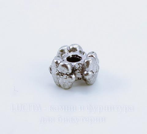 """Бусина металлическая """"Три цветка"""" 7х4 мм (цвет - античное серебро), 10 штук"""