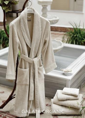 Элитный халат махровый Galata Organic Contrast оливковый от Hamam