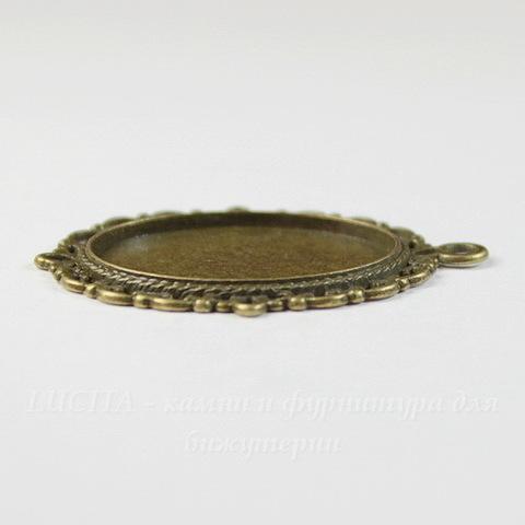 """Сеттинг - основа - подвеска """"Ажурный"""" для камеи или кабошона 25х18 мм (цвет - античная бронза)"""