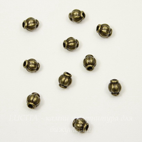 "Бусина металлическая ""Фонарик"" (цвет - античная бронза) 4х4 мм, 10 штук"