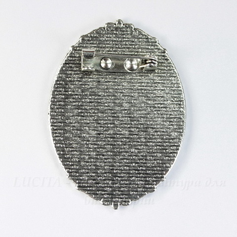 Основа для броши с сеттингом для кабошона 40х30 мм, 49х35 мм (цвет - античное серебро)