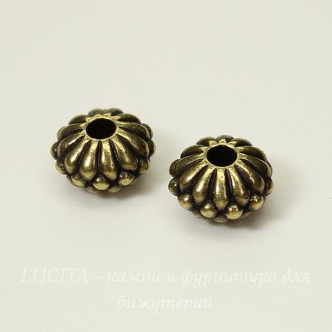Бусина - рондель TierraCast 10х6 мм (цвет-античная латунь)