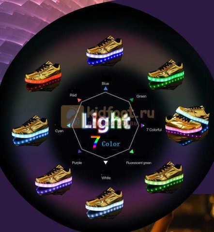 Светящиеся кроссовки с USB зарядкой Fashion (Фэшн) на шнурках, цвет золотой, светится вся подошва. Изображение 5 из 8.