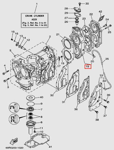 Головка блока цилиндров для лодочного мотора Т30 Sea-PRO (2-19)