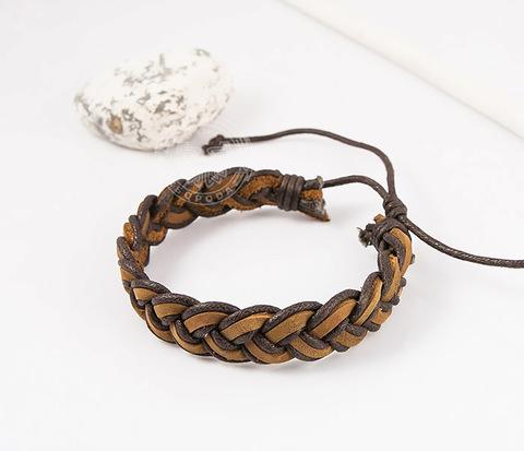 SL0171 Классный плетеный мужской браслет из коричневой кожи,