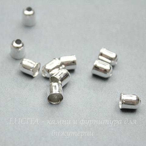 Концевик для шнура 3,5 мм (цвет - серебро) 5х4 мм, 10 штук