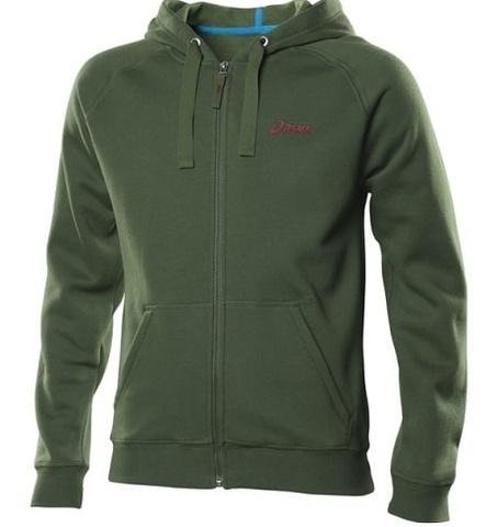 Толстовка Asics Logo Full Zip Hoody мужская зеленая