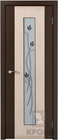 Дверь Крона Элит, стекло матовое с шелкографией, цвет беленый дуб, остекленная