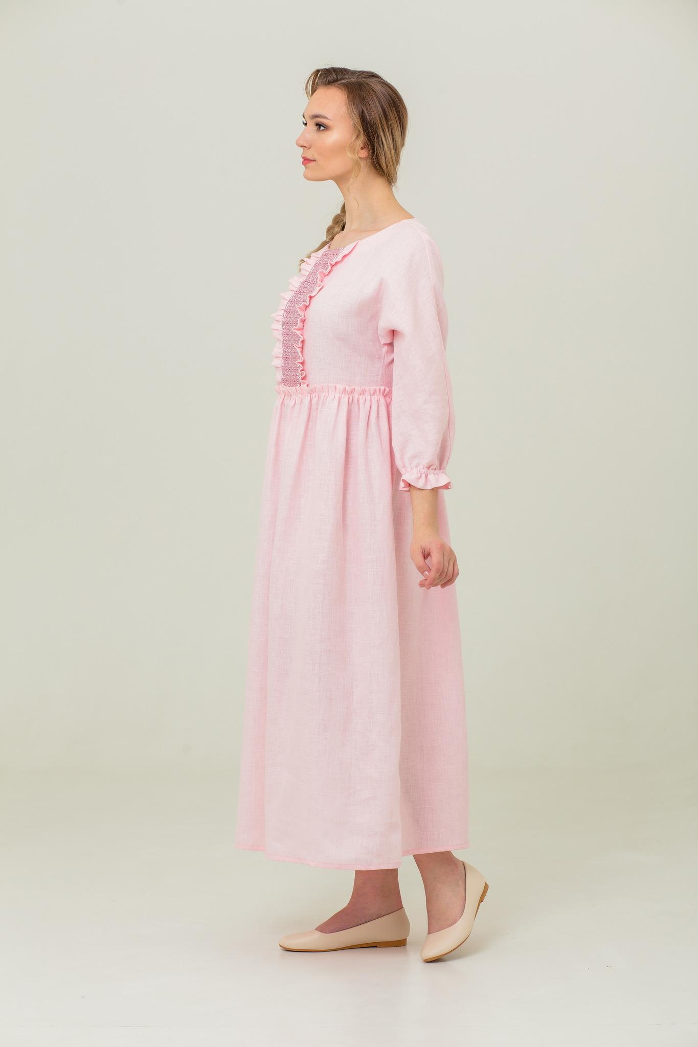 Льняное платье в русском стиле Цветущий шиповник