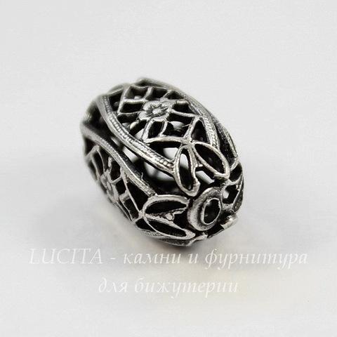 Винтажный элемент - бусина филигрань 15х9 мм (оксид серебра)