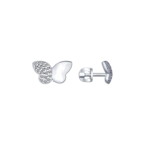 Серьги-пусеты бабочки из серебра с фианитами SOKOLOV