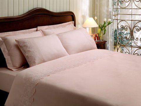 Постельное белье Clarisa розовый с кружевом deluxe TIVOLYO HOME Турция
