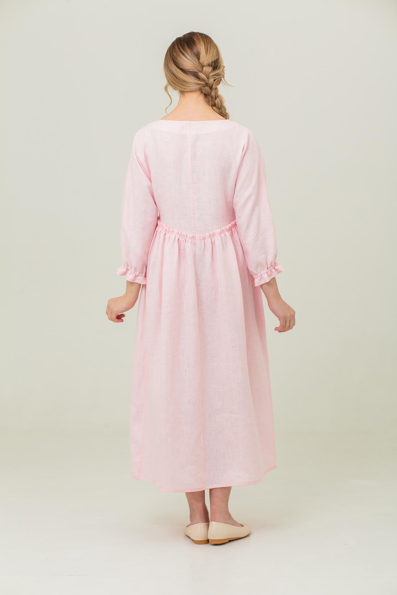 Купить длинное льняное платье Цветущий шиповник