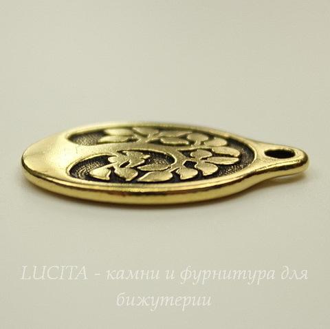 """Подвеска овальная TierraCast """"Дерево"""" (цвет-античное золото) 26х18 мм"""