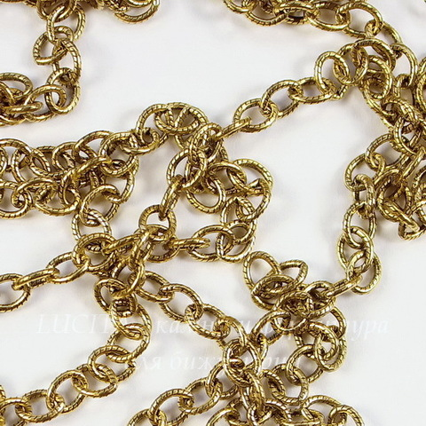 Винтажная цепь (звено 5х3,5 мм) (цвет - античное золото), 10 см