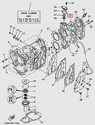 Прокладка крышки головы блока цилиндров для лодочного мотора Т30 Sea-PRO (2-23)