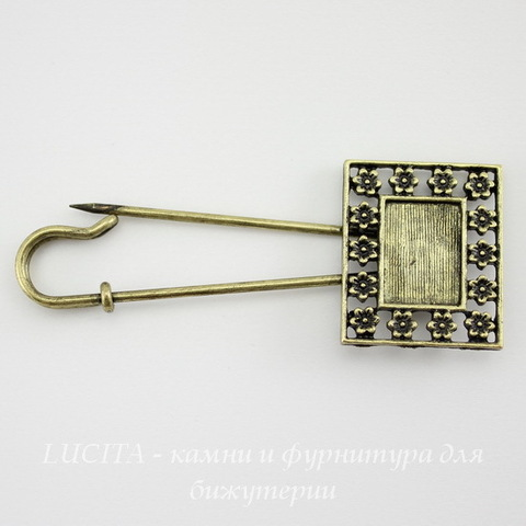 "Основа для броши - булавка с сеттингом для кабошона 14х10 мм ""Цветочки"" (цвет - античная бронза) 66х26 мм"