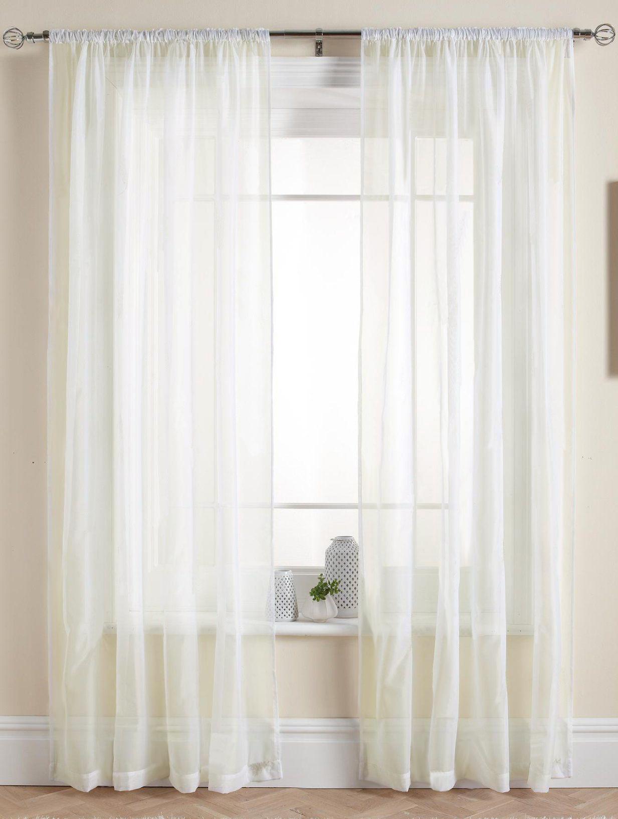 Длинные шторы. Тюль Basica-2 (микро вуаль крем)