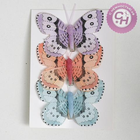 Бабочки цветны перьевые, 8 см, 1 шт.