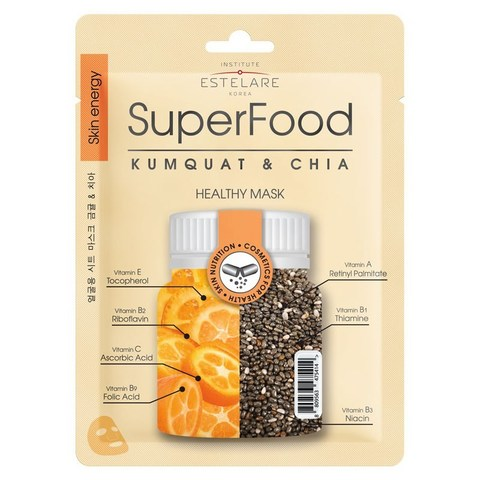 Institute Estelare SuperFood Тканевая маска для лица Кумкват и Чиа 25г