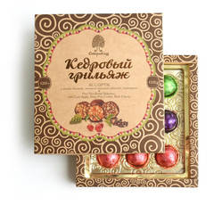 Конфеты Грильяж кедровый ассорти/яблоко,шишка,черёмуха в шоколадной глазури Сибирский Кедр 120 гр