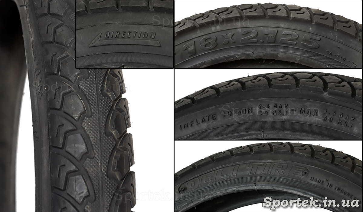 Велосипедная покрышка 18 х 2,125 дюйма (57-355 ISO) - надписи